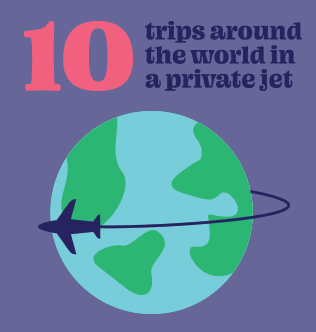 10 trips around the world in a private jet